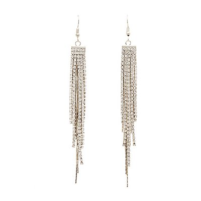 Crystal Drop Tassel Earrings