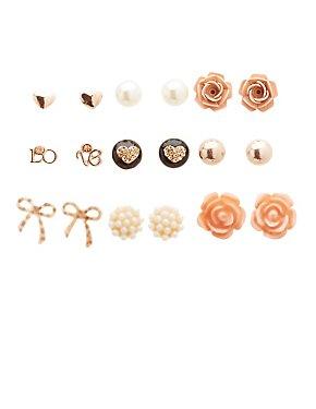 Assorted Stud Earrings - 9 Pack