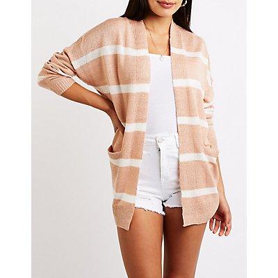 Stripe Open Front Cardigan