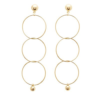 Linked Hoop Ball Drop Earrings