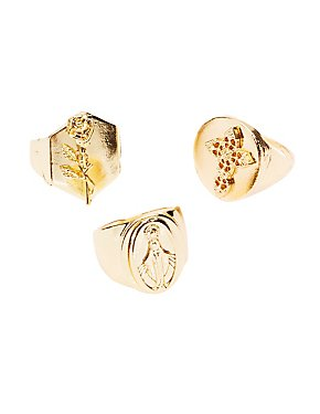Cross & Rose Signet Rings - 3 Pack