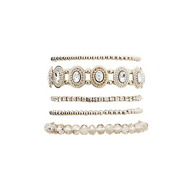 Bead & Crystal Bracelets - 5 Pack