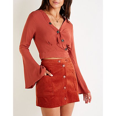 Button Up Corduroy A Line Skirt