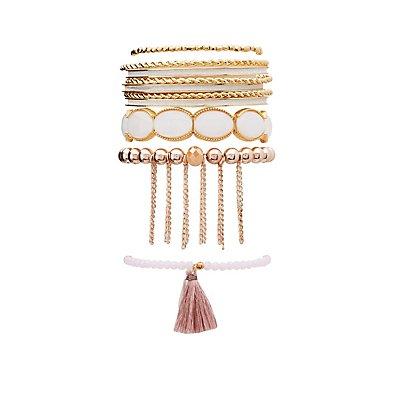Tassel Beaded Bracelets - 10 Pack