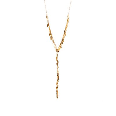Leaf Charm Lariat Necklace