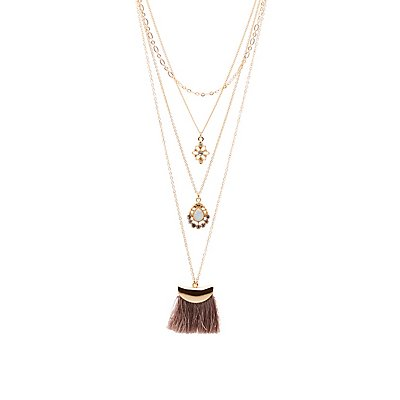 Stone & Tassel Layered Necklaces