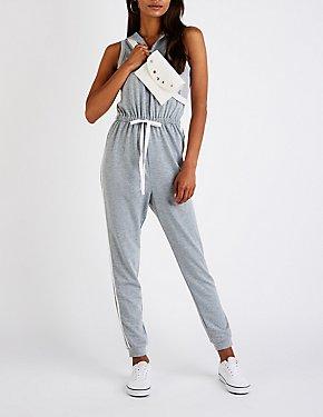 Varsity Striped Hooded Jumpsuit
