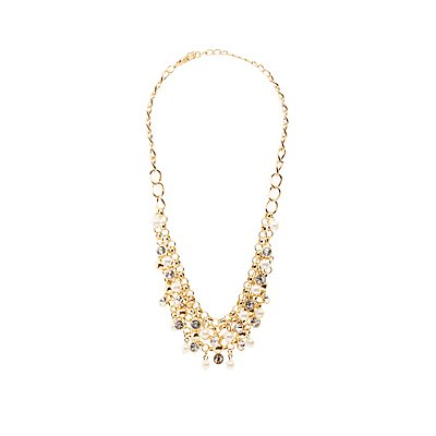 Crystal & Faux Pearl Layered Necklace