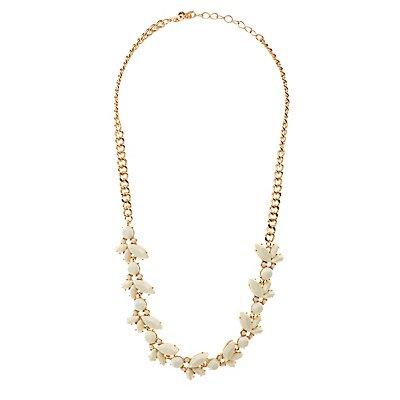 Stone Flower Petal Necklace