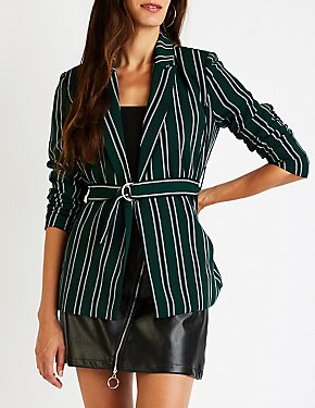 Striped Belted Blazer