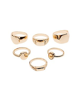 Textured Stacking Rings - 6 Pack