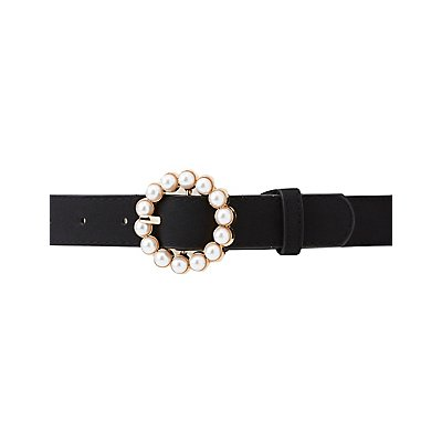 Faux Pearl Buckle Belt