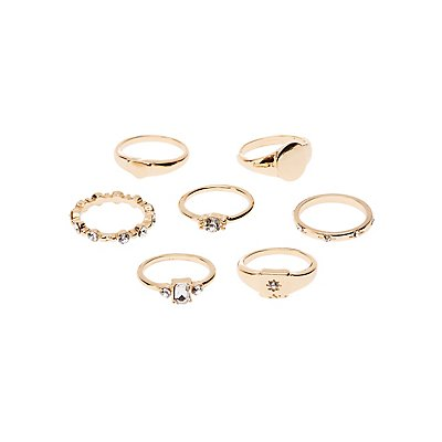 Crystal Stackable Rings - 7 Pack