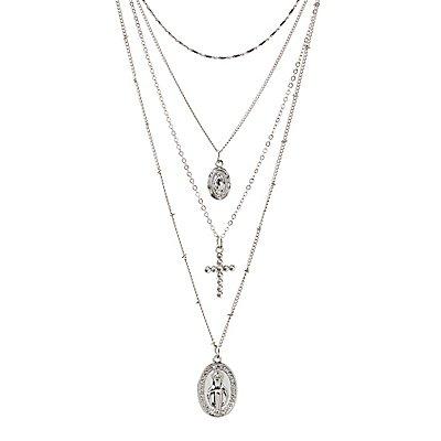 Cross Pendant Multi Chain Necklaces