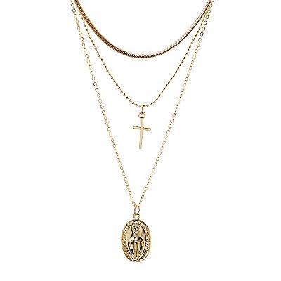 Cross & Coin Pendant Necklaces