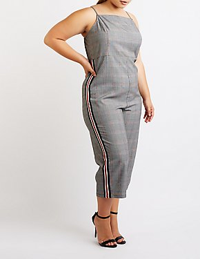Plus Size Houndstooth Stripe Detailed Jumpsuit
