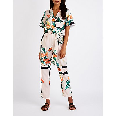 Tropical Print Lapel Jumpsuit