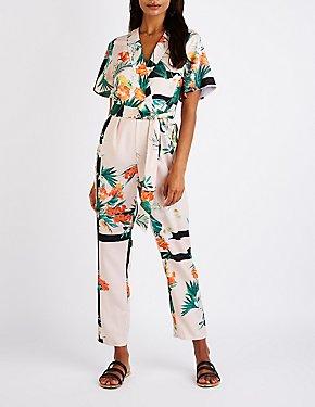 Tropical Print Lapel Jumpsuit