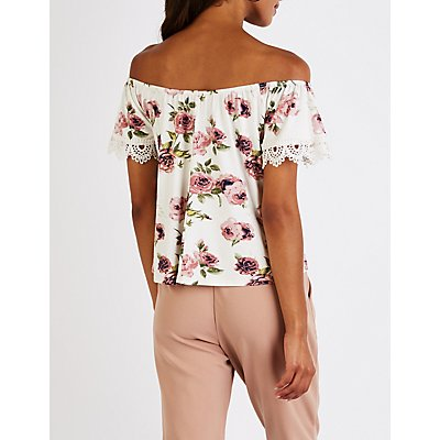 Floral Crochet Off The Shoulder Top