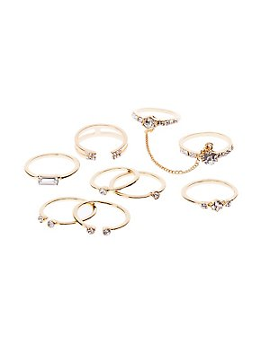 Crystal Chain Rings - 9 Pack