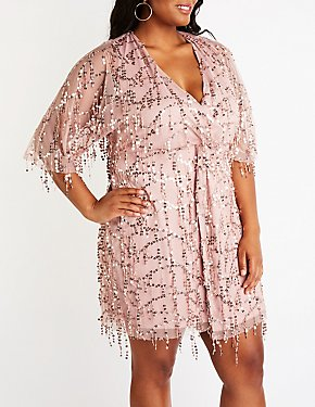 Plus Size Sequin Mesh Dress