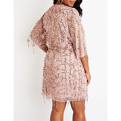 Plus Size Sequin Mesh Dress
