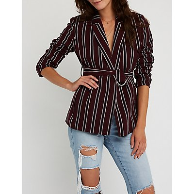Striped Belted Blazer