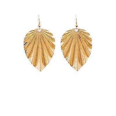 Textured Leaf Drop Earrings