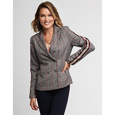 Glen Plaid Varsity Stripe Blazer