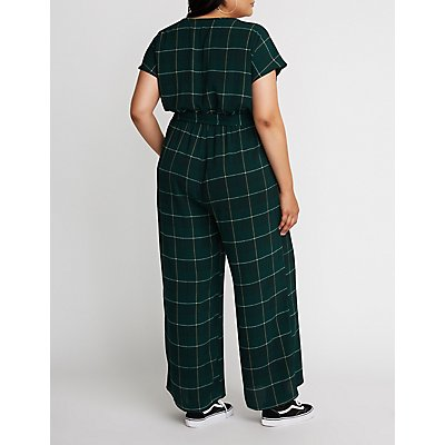 Plus Size Glen Plaid Wide Leg Jumpsuit