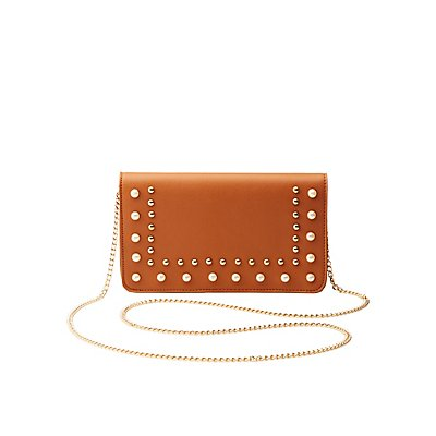 Faux Pearl & Studded Clutch