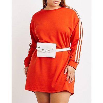 Plus Size Striped Sweatshirt Dress