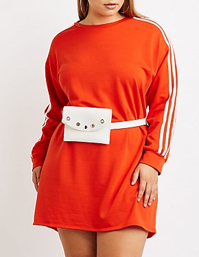 Plus Size Striped Sweatshirt Dress