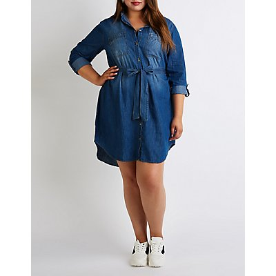 Plus Size Chambray Button Up Shirt Dress