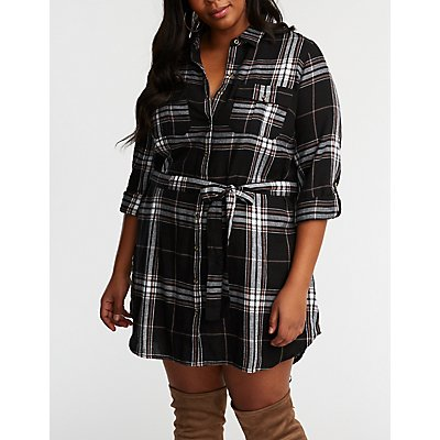 Plus Size Plaid Button Up Shirt Dress