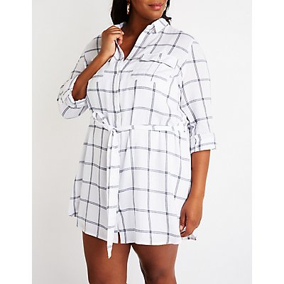 Plus Size Plaid Button Up Shift Dress