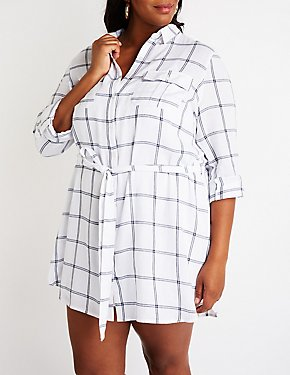 Plus Size Plaid Button Up Shirt Dress