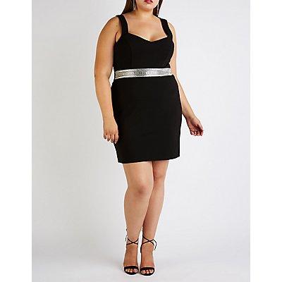 Plus Size Embellished V Neck Bodycon Dress