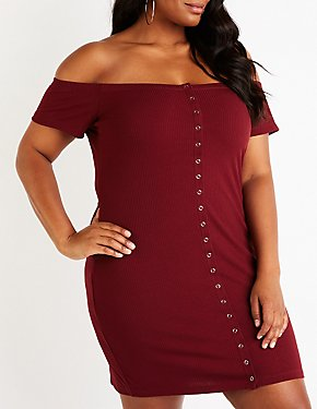 Plus Size Ribbed Off The Shoulder Dress