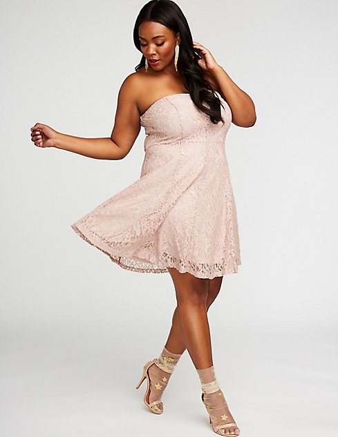 Plus Size Metallic Lace Skater Dress Charlotte Russe