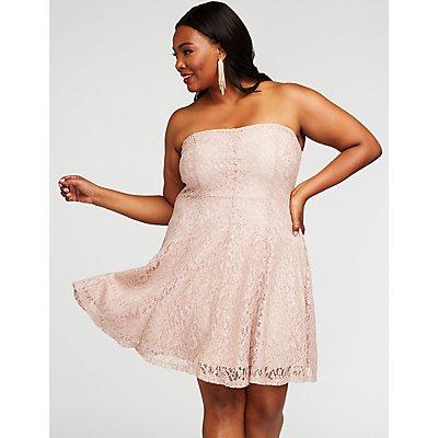 Plus Size Metallic Lace Skater Dress