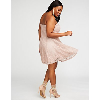 Plus Size Metallic Lace Skater Dress