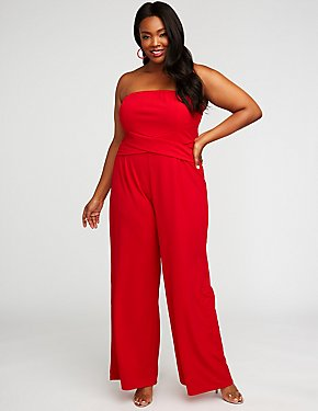 Plus Size Strapless Wide Leg Jumpsuit