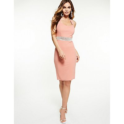 Crystal Detail Bodycon Dress