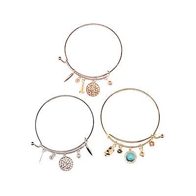 Charm Bangle Bracelets - 3 Pack