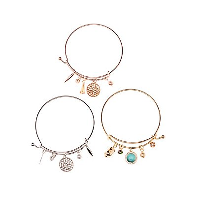 Charm Bangle Bracelets   3 Pack by Charlotte Russe