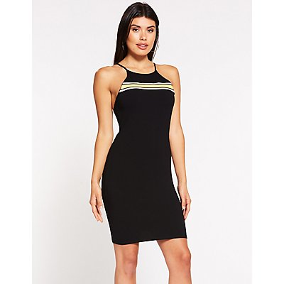 Striped Detailed Bodycon Dress