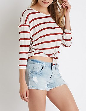 Striped Tie Front Tee