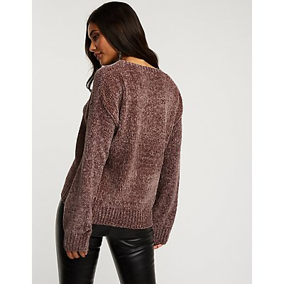 Chenille Crew Neck Pullover Sweater