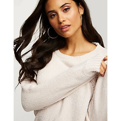 Chenille Crew Neck Pullover Sweater
